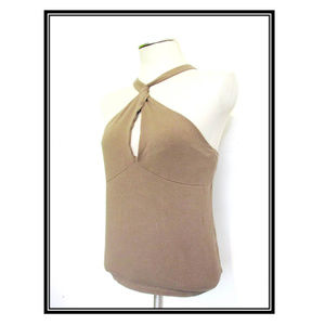 Q&A Tops - Taupe Halter Top Keyhole Neckline Bow Tie